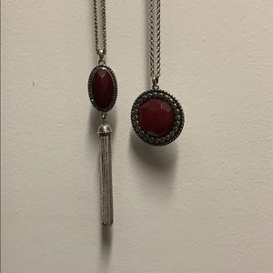Fossil bundle necklace. Stones are maroon color
